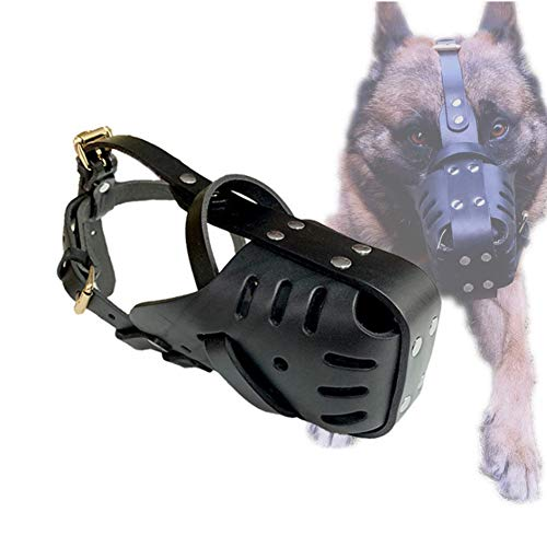 Bozal para Perros De Cuero Genuino, Pit Bull Pitbull Terrier Canasta Segura Bozal para Perros Mordisco Ajustable Mordisco Ladrido Entrenamiento Máscara para Perros para Perros Medianos Y Grand