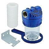 FILTROTECH 5Zoll Filter für Garten Pumpen Hauswasserwerke Hauswasserleitung Schmutzfilter Sandfilter Pumpenfilter mit Filtereinsatz Anschluß Messing-Innengewinde 1Zoll
