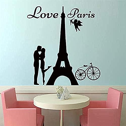 Soggiorno Camera Da Letto Decorazione Da Parete Adesivi Murali Parigi Pagina Lover Baci E Biciclette Pvc Lounge 59X62Cm