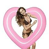 pioneer clan, salvagente gonfiabile e forma di cuore, per adulti, bambini, feste in piscina, rosa, 47.24 pollice
