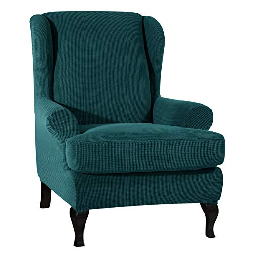 CHUN YI Ohrensessel Schonbezug Jacquard Elastische Sofaüberwurf Schutzhülle aus elastischem Sessel Husse für Ohrensessel (Dunkeltürkis, Ohrensessel)