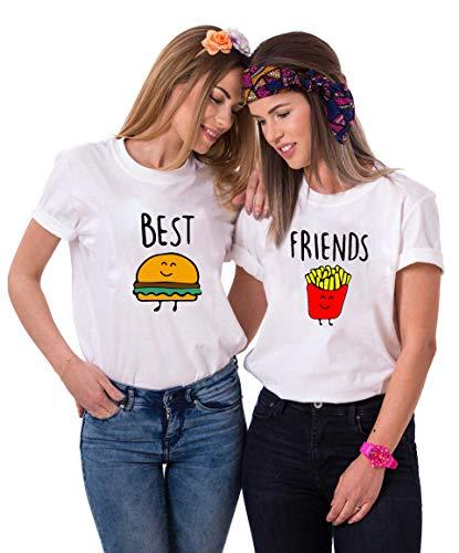 Best Friends T-Shirts für Zwei Mädchen Burger Pommes Sister BFF T Shirt für 2 Damen Beste Freunde Tshirts Freundin Schwestern Geschenke 1 Stück (1 Stück - Pommes - Weiß, S)