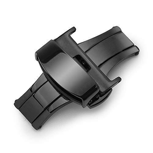 Sulla 20mm Schwarze Butterfly Edelstahl 316L Faltschließe für Uhrenarmbänder