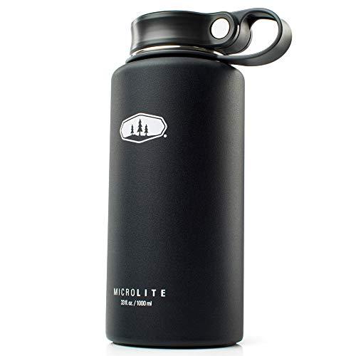 GSI Outdoor MicroLite 1000 Twist 33 fl.oz. Vakuum isolierte Edelstahl-Wasserflasche, schwarz