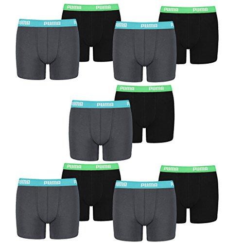 PUMA 10 er Pack Boxer Boxershorts Jungen Kinder Unterhose Unterwäsche, Farbe:376 - India Ink/Turquoise, Bekleidung:128