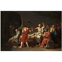 Rzhss 有名な絵画ソクラテスの死キャンバス絵画ポスターとプリント壁アート写真リビングルームの家の装飾のためのクアドロスキャンバスにプリント-60X90Cmフレームなし