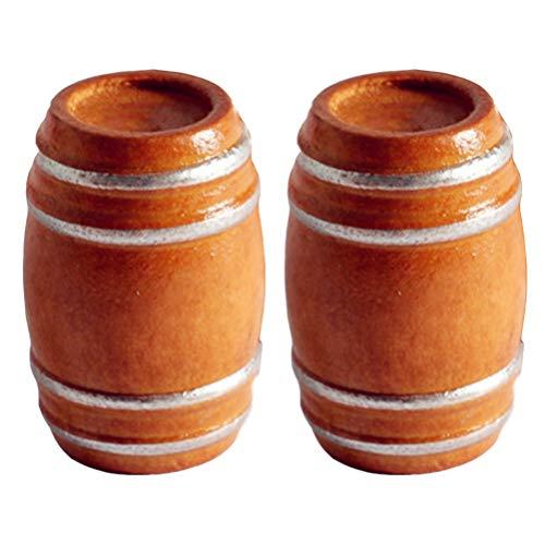 jojofuny 2 Piezas 1: 12 Casa de Muñecas Miniatura de Madera Barril de Vino Tinto Cerveza Casa de Hadas Juguetes Modelo Accesorios para Fotos Casa de Muñecas Mini Muebles