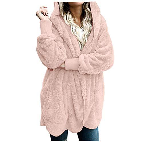 Damen Winter Warmer Mantel Art und Weisewolljacke Plüsch beiläufige Lange Hülsen Jacke Normallack lose passende Oberbekleidung Mantel Pullover Strickjacke Pink S