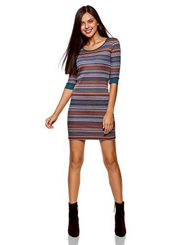 oodji Ultra Damen Jacquard-Kleid mit Geometrischem Muster, Mehrfarbig, DE 36 / EU 38 / S