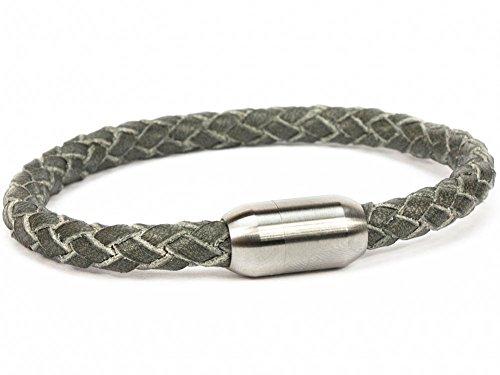 SIMARU Lederarmband für Herren & Damen – geflochtenes 6mm Armband aus pflanzlich gegerbtem Leder mit Edelstahl Magnet Verschluss – Allergiefreundlich & Chromfrei (grau (Größe M))