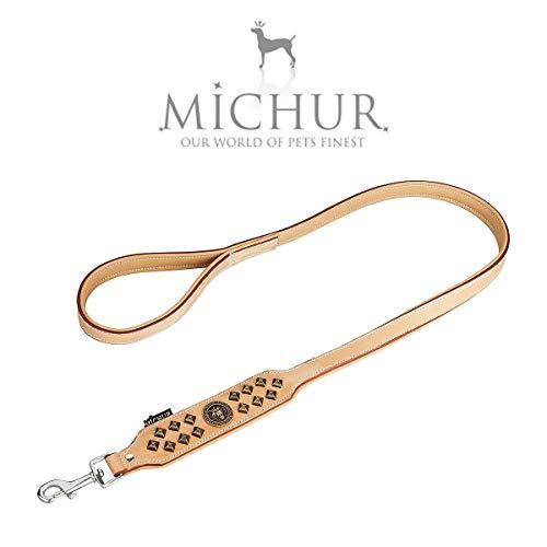 MICHUR Diego beige, leren hondenriem, leiband voor honden, leren band hond, band, beige, bijpassende halsband Diego is apart verkrijgbaar