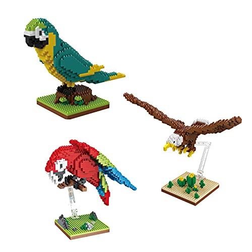 NXNX Juego de Modelos de Micro Ladrillos de la Serie Animal, Conjunto de Juguetes de águila de águila, Figuras de acción, Juguetes de Bloques para Adultos, (3 Piezas)