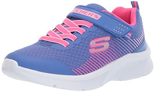 Skechers Mädchen MICROSPEC Sneaker, Blau (Blue Mesh/Neon Coral & Lt Coral Trim BLNC), 30 EU