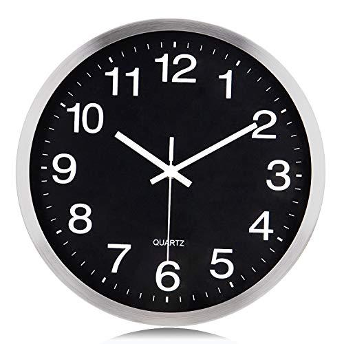 Lafocuse Reloj de Pared Silencioso Metal Sencillo Reloj Cuarzo Clasico Negro para Salon Comedor Dormitorio 30 cm