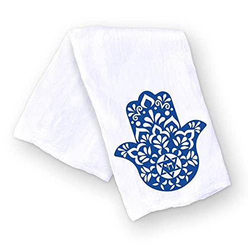Blue Hamsa Chai Kitchen Towel | Jewish Kitchen Decor | Housewarming New Home Hostess Gift | Passover | Hanukkah | Shabbat Challah Proofing