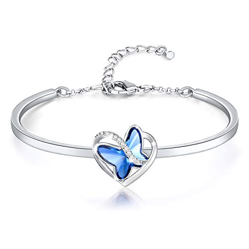 SNZM Butterfly Bracelet for Women Heart Bangle Bracelet in Silver Mothers Day Birthday Jewellery Gift for Girlfriend Wife