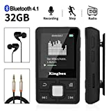 Lecteur MP3, Mini Lecteur MP3 Bluetooth Sport avec Kingbox 32Go, HiFi Portable sans Perte,128 Go de Radio FM, podomètre Intelligent, Photos, enregistrements, E-Book