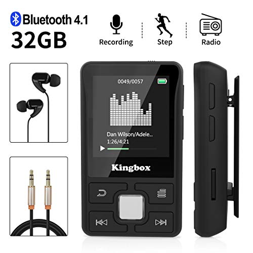 bon à choisir Lecteur MP3 Mini Bluetooth Sport MP3 Player, 32 Go King Box Portable Hi-Fi Radio FM sans perte 128 Go Podomètre intelligent Enregistrement de photos E-book