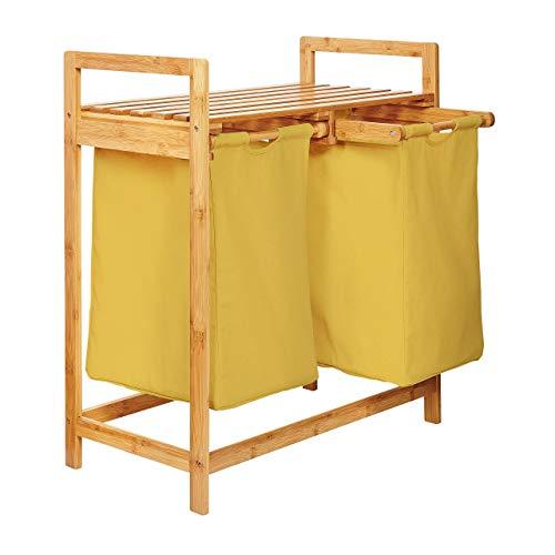 Lumaland Portabiancheria - Cesta per la Biancheria - Cesta per Il Bucato in Bambù con 2 Scomparti Estraibili - Mobile Bagno per Detergenti, Asciugamani - 73 x 64 x 33 cm -Giallo