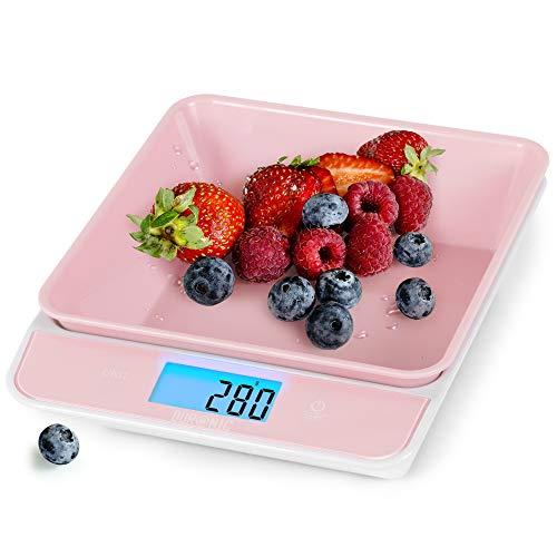Duronic KS100 RD Báscula de cocina digital 22x18.3cm – Pantalla LDC grande con iluminación en azul – Peso máximo 5 kg – Bol de 700ml – Función tara – Mide en gr, lb, oz y ml - Color rosa