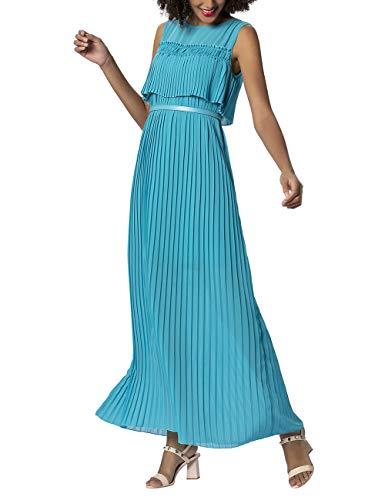 APART stylishes Damen Kleid lang, Abendkleid, türkis, plissierter Chiffon, mit Gürtel, Klassische Eleganz