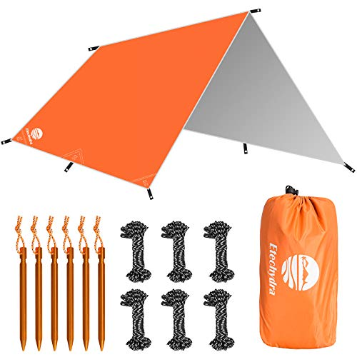 Etechydra Telo per Tenda da Campeggio, Tela Cerata Impermeabile per la Pioggia per Il Campeggio per Campeggio Tarp Telone, Spiaggia, Nave, Picnic, Parasole e coperture da campeggio, 3x3m, arancia