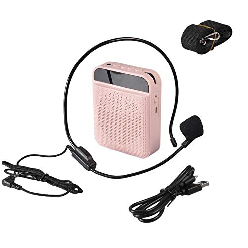 ZHAOZC Amplifier Mini Loud Speaker Portable with Wired Microphone Headset Speaker, Support USB/TF Card/Aux/MP3 PA System for Teachers,Singing