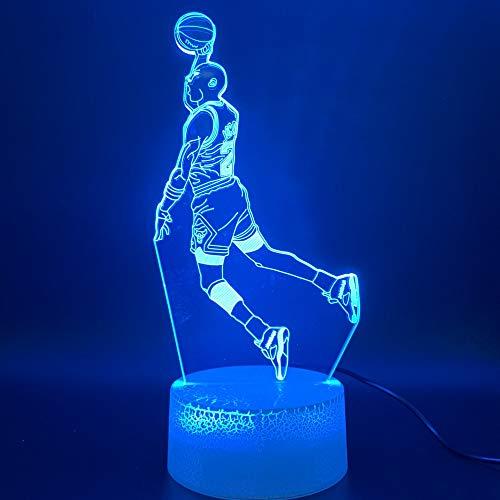 Luz de noche LED Michael Jordan Dunk Figura 3D Lámpara de mesa Niños Juguete Regalo Deportes Baloncesto Decoración del hogar Regalo de cumpleaños Niños Niño Niño Luz
