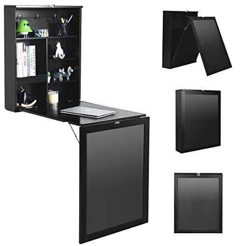 COSTWAY Wandtisch klappbar, Wandklapptisch aus MDF, Bartisch mit Tafel, Schreibtisch multifunktional, Esstisch, Küchentisch, Computertisch, Klappschreibtisch, Laptoptisch (Schwarz)