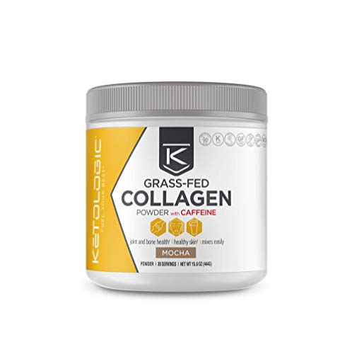 KetoLogic Grass-fed Keto Collagen Powder: Sugar-Free, Low Carb, Collagen Peptides Supplement | Keto & Paleo Friendly, Gluten Free, Fortified with Electrolytes | Mocha