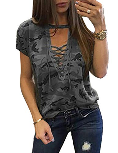 Sexyshine Women's Camouflage Print Tops Bandage Deep V Low-Cut Lace-up Blouses Loose Short Sleeve T-Shirt(14808GY,L)