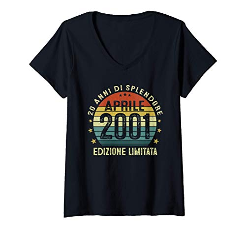 Donna 20 Anni Compleanno Uomo Donna Regalo Vintage Aprile 2001 Maglietta con Collo a V
