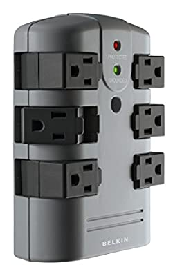 Belkin 6-Outlet Pivot-Plug Surge Protector w/Wall Mount - Ideal for Mobile Devices, Personal Electronics, Small Appliances and More (1,080 Joules)