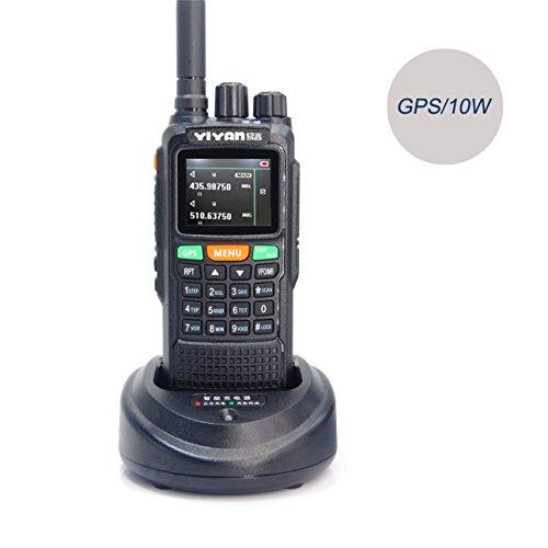 YIYAN walkie-talkie a lungo raggio yi-88910W GPS Dual Band VHF UHF Amateur radio bidirezionale con auricolare e cavo di programmazione per campo di sopravvivenza, ciclismo ed escursionismo
