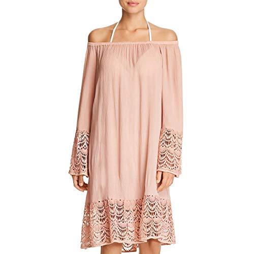 Muche et Muchette Womens Embroidered Dress Swim Cover-Up Tan O/S