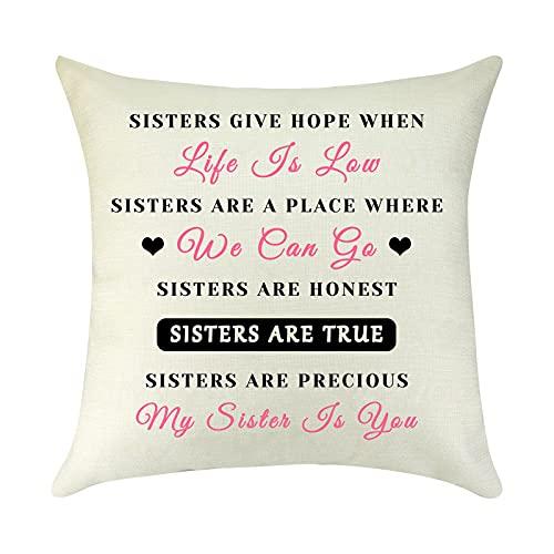 Kissenbezug für Schwestern, quadratisch, mit Zitat, Geschenk für Schwester, beste Freunde, Schwester, Geburtstagsgeschenk, Schätzungsgeschenk für Seele, dekorativer Überwurf, Sofa