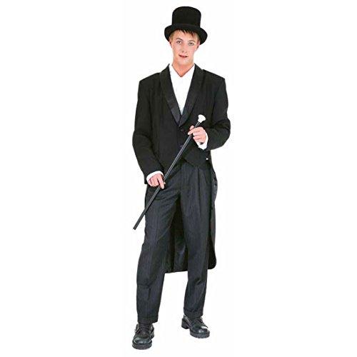 NET TOYS Herren Showfrack schwarz Gehrock Karneval Anzug Fasching Herrenkostüm Showanzug Show Frack