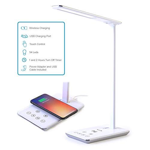 FLUX'S - Lámpara Escritorio LED con Carga Inalámbrica Wireless y Puerto USB, Flexo de Lectura con 4 Modos y 10 Niveles de Brillo, Control Táctil Regulable y Temporizador, Bajo Consumo (Blanco)