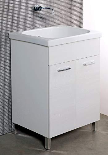 giordanoshop Mobile Lavatoio in Ceramica 60x60x88 cm 2 Ante Ambrosini Bianco Rigato