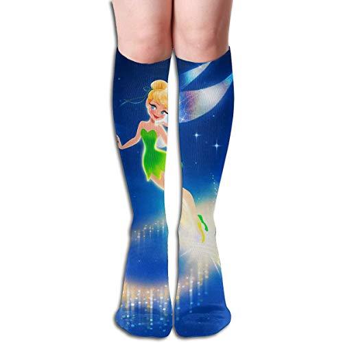 Blooming Knee High Tube Socks Tinkerbell Flying Cute Running Socks for Girl Women