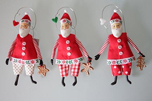 Christmas @ Thumpers Santa Clause de 17 cm Nordic ; Tissu et résine – (Lot de 3) Neuf pour 2015