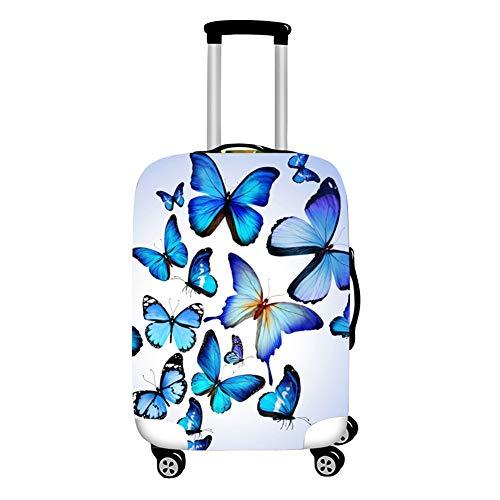 Surwin 3D Cubierta de Equipaje Protectora Suave Elástico Anti-Polvo Lavable Funda de Maleta Luggage Cover con Cremallera Viaje Cubierta de la Caja (Mariposa Azul,S (18-20 Pulgadas))