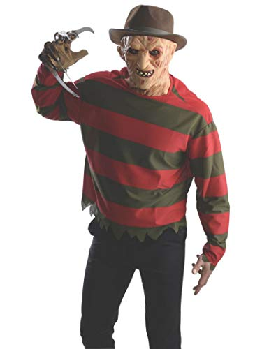Rubie's Men's Nightmare On Elm St Freddy Krueger Costume Shirt with Mask, Multicolor, Standard
