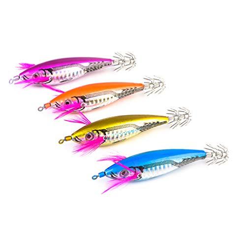 BESPORTBLE 4 Piezas de Calamar Fluorescente Jig Hook Señuelos de Pesca Dura Cebos Señuelos de Pesca Artificial Señuelo de Gancho para Pulpo Sepia