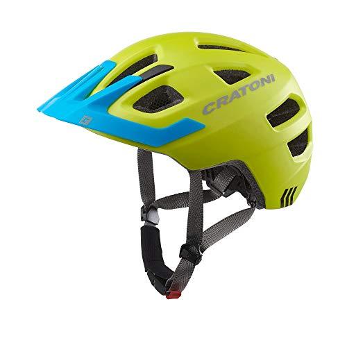 Cratoni Kinderhelm Maxster Pro Fahrradhelm Kinderhelm Jugendhelm mit Rücklicht, Lime Blue, S/M