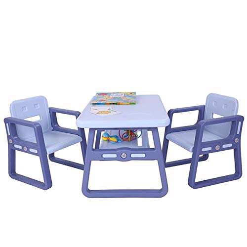 Little Kid Children Table and Chairs Set - Sturdy Furniture Toddler Activity Chair Best for Toddlers, Reading, Train, Art Play-Room - 2 Childrens Seats with 1 Tables Sets Little Kid Children (Blue)