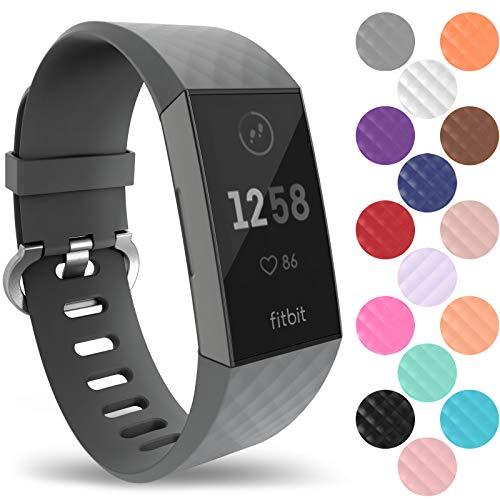 Yousave Accessories Compatibile Cinturino per Fitbit Charge3 / Charge4, Cinturino di Fitbit Charge 3 / Fitbit Charge 4, Cinturino Sportivo per Il Fitbit Charge 3 / Fitbit Charge 4 - Grande - Grigio