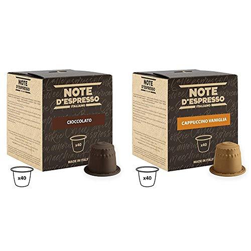 Note D'Espresso Cápsulas de chocolate - 40 Unidades de 7 g, Exclusivamente Compatible con cafeteras Nespresso + Cápsulas de capuchino de vainilla instantáneo, 6,5g (caja de 40 unidades)