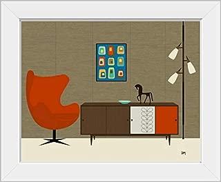 CANVAS ON DEMAND Orla Kiely Cabinet No Cat White Framed Art Print, 17