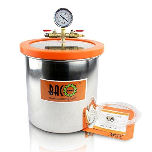 BACOENG 12 Liter Vakuumkammer Edelstahl Vakuum Entgasungskammer (Durchmesser 25CM/ Hoch 25CM)